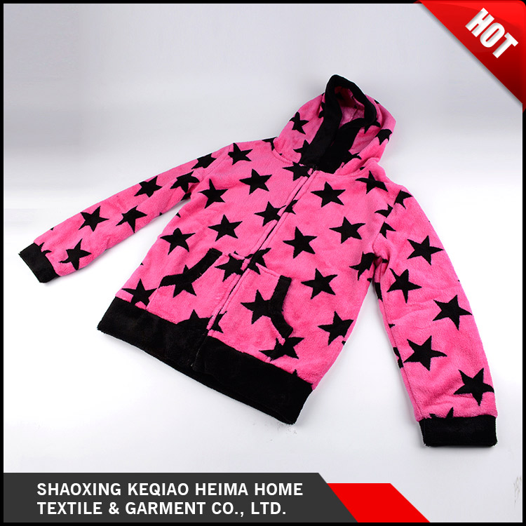 Custom made high quality soft pinted home use sleepwear bathrobe