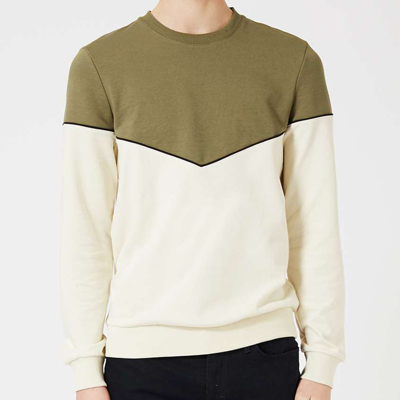 new fashion mens streetwear crew neck sweatshirt with two tone colors