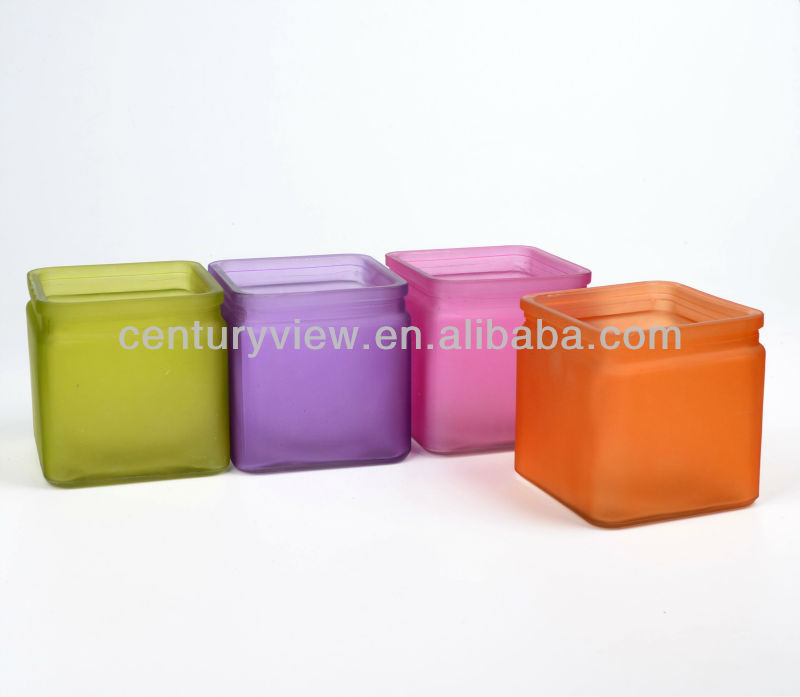 Frosted Cube Colour Glass Vase Mini glass vase