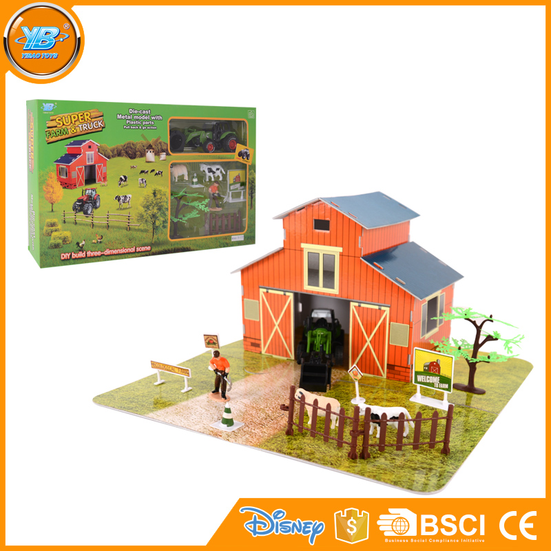 Yibao alloy diecast 3d scene toy farm play set with diecast tractor and animal