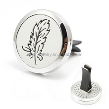 New Silver Feather Magnet Diffuser Stainless Steel Car Aroma Locket Free Pads Crystals Essential Oil Car