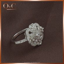 Wholesale royal 925 antique silver flower ring with cubic zircon jewelry for women