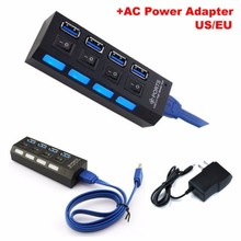 AC Power Adapter 4 Port USB 3.0 USB Hub With External Power