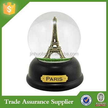 Custom Souvenir Resin Eiffel Tower Snowglobe