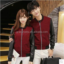 Custom pu leather polyester guangzhou women couple lover winter jacket for men and women odm oem bomber jacket wholesale