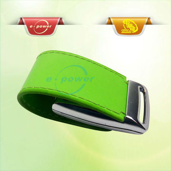 E-Power Hot Sale Metal and Leather USB Flash Drive with Key Chain U1109