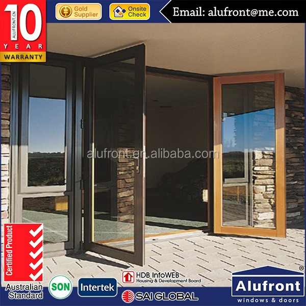 Alibaba China supplier latest design wooden color aluminum hinged windows and doors