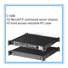 C136B,1U Micro ATX rack mount server chassis,I/O front access industrial PC case