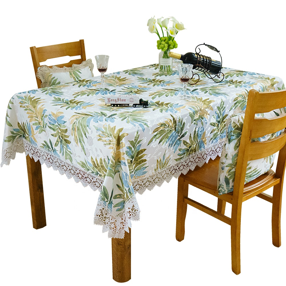 wholesale cheap China elegant white cotton embroidery lace table cloth