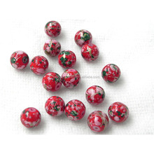 Low price red round loose glass cloisonne beads for wall beads curtain