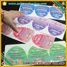 Custom Shape printed permanent adhesive waterproof labels for glass plastic bottles