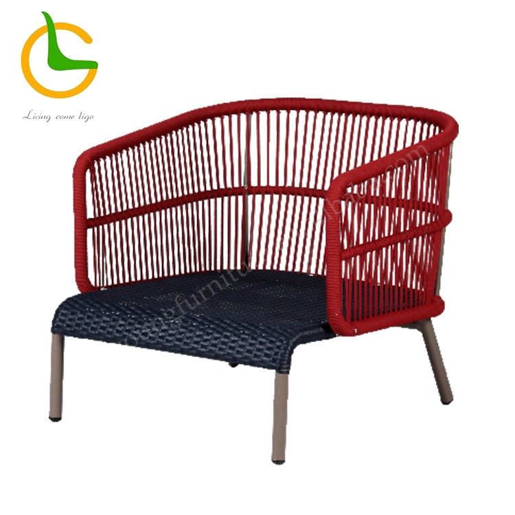 2018 new design red rope KD garden patio sofa