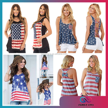 Wholesale Sexy Sleeveless USA Flag Women Tank Tops