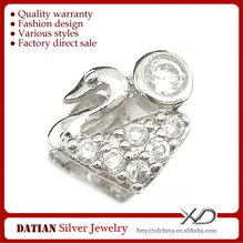 XD C539 925 Sterling Silver Jewelry Pendant Clasp Swan Zircon Silver Clasp