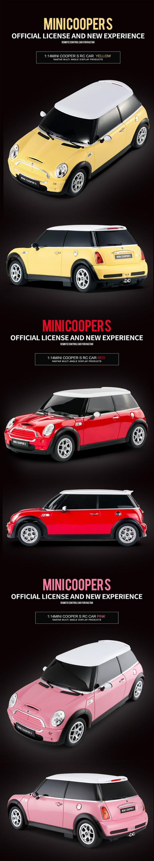 MINI COOPER license car model turn and lights Rastar mini rc car toy for child