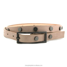 Fashion lady rivet design pu leather waist belt with rectangle buckle