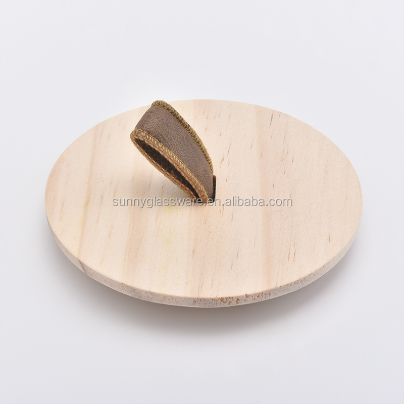 pine wood lid with handle for candle jars