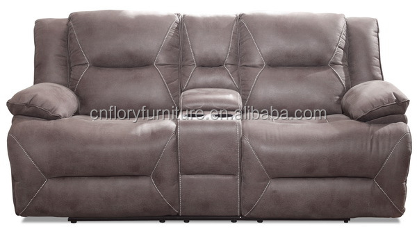 2seat fabric recliner sofa with console
