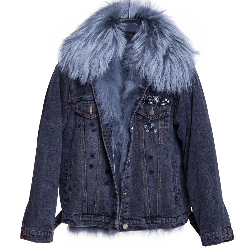 YR1072 Latest Style <strong>3</strong> way Denim Parka with Fox Fur Inside and Raccoon Fur Collar
