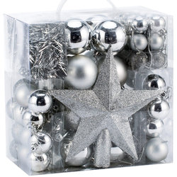 Whosale Christmas Tree Ball Decorations Silver Xmas Ball With Tree Topper Star And Tinsel