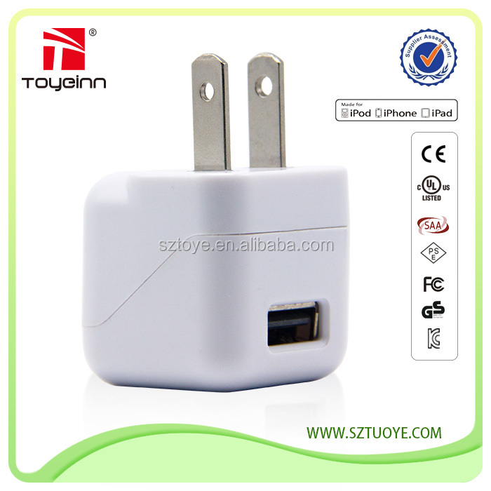 Toye 5v 1a us/japan single port usb travel charger wall charger