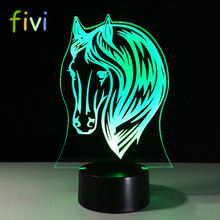 3D Horse Night Light RGB Changeable Mood Lamp LED Light DC 5V USB Decorative Table Lamp