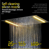New Design Bath Electric LED Ceiling Recessed Rainfall Shower Head 304SUS Bathroom Accessories Douche Overhead Shower Panel