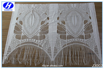 Hongtai lace trim scallop bordered hollow out floral eyelash white lace fabric