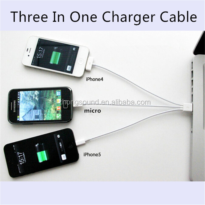 Wholesales 3 in 1 Charging USB Cable for iPhone 7/5s/6/6s/iphone4/4s, Micro USB