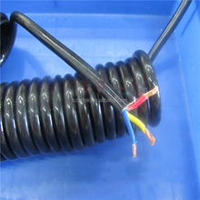 PU PVC spiral cable 3 core wire cable,curly cable stretch to 2m available