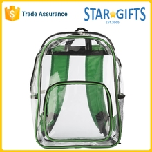 Zipper Outdoor Waterproof Durable Eco See Through Transparent PVC Stadium Backpack Bag
