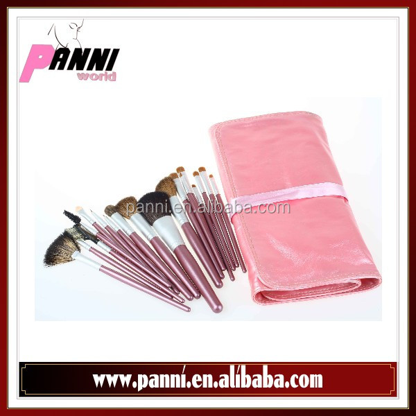 Lovely Pink cosmetic brush 18pcs goat, fox, nylon hair brushes for makeup in pink soft leather case