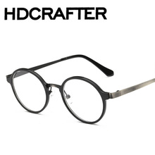 Fashion Round Optical Prescription Glasses Frame Men Women Clear Lens Plastic Titanium and Stainless Steel Eyewear Frame