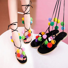 Free Shipping Cheap fashion Girls Yarn Ball Roman lace up gladiator pom pom sandals