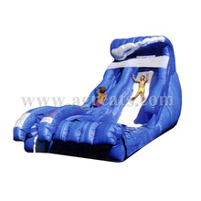 Blue wave shape inflatable slide, 2016 cheap water slide inflatable for sale G4054
