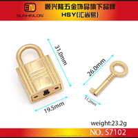 Handbag hardware wholesale, metal decorative lock and key