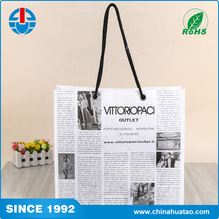 Fugang Newspaper Design Creative Button-holing Non Woven Shopping Bag