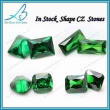Beautiful luster synthetic gems cz fake gemstones green rectangle