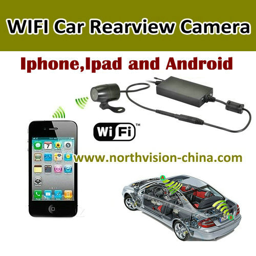 wireless car rear view camera with distance line checking on mobile phone