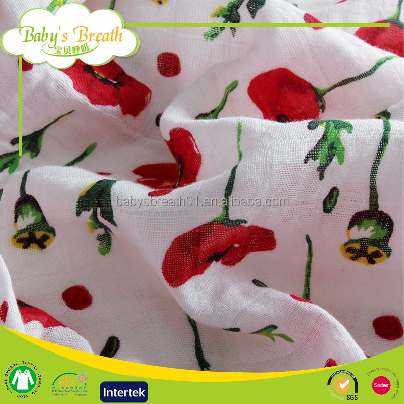 MS-28 47*47 after-washed 100% organic cotton softtextile muslin swaddle blanket fabric