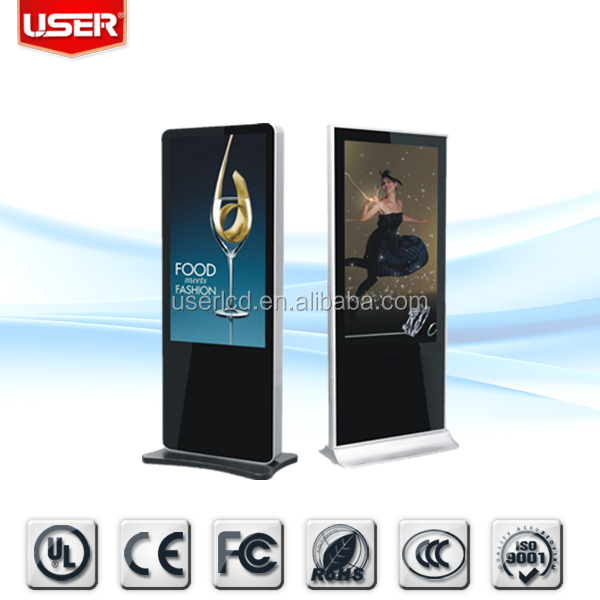 Indoor/outdoor application exhibition 46\' road side outdoor lcd display floor standing digital signage digital banner w