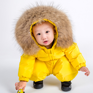 Winter Children Warm Baby Coveralls Down Coat Duck Down Padded Coat Wholesale Baby Hooded Down Coat With Big Raccoon Fur Collar