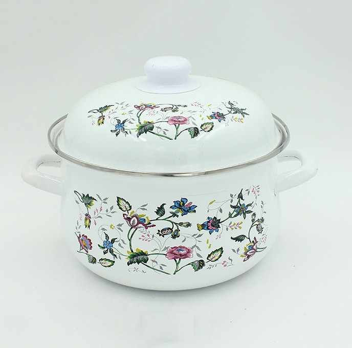 China Supplier Blue Flowers Decal Printing Cookware Set Enamel Casserole