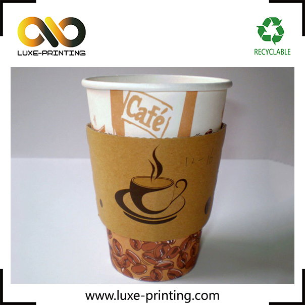 Logo customized design hot black coffee cup sleeve with handle