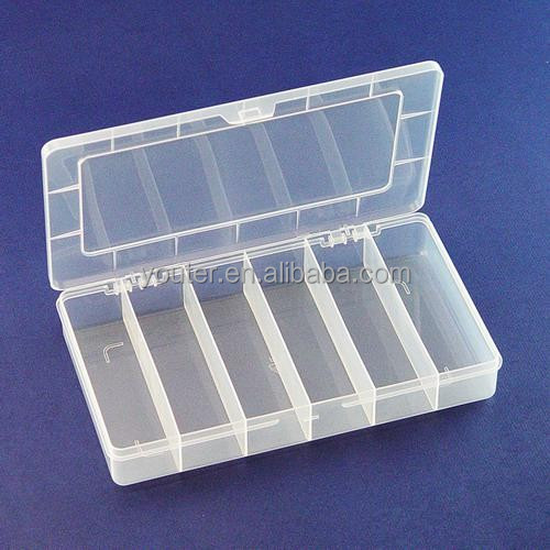 6 compartment electronic components plastic storage box fishing tackle box