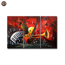 Modern Musical instruments Abstract Oil Painting on Canvas Triptych