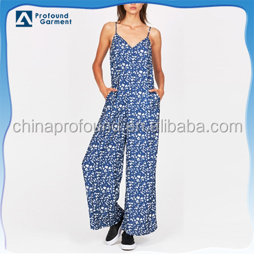 hot sale sexy loose v-neck fancy full printing women jump suit