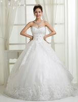 RR2689 graceful all over appliqued lace folds on puffy skirt real long trail sexy wedding dress