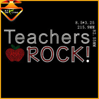 Bling teachers Rock rhinestone transfer iron on design