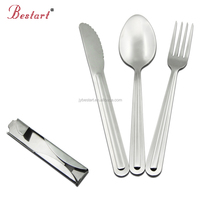 18/8 camping utensils set fork and spoon travel cutlery set with bottle opener